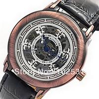 Luxury Elegant Bronze Hollow Clock  Automatic Mechanical Classic Winner Skeleton Design Military Men's Leather Hand Gift Watch