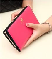 Free Shipping 2014 Women's Clutch buckle Soft Leather Wallet Lady PU Long Card Purse Handbag