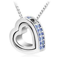 "Wholesale Heart in Heart Pendants 18K Gold Plated Elements design Heart Necklaces & Pendants double heart pendants 18"""