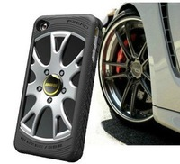 Free shipping!2013 New MIAK tire Car case for Iphone 4 4S silicon Electroplate Case with 3D Wheel Style Branded Car logo