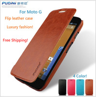 Wholesales leather flip case for Moto G phone luxury fashion style phone cover for Motorola moto G + 1 piece screen protector