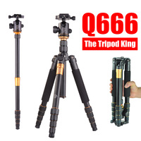 free shipping Q666 slr foto carbon professional flexible camera tripod for camera mini tripod head light stand handheld monopod