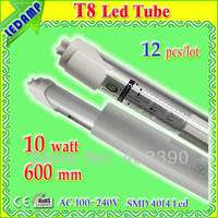LED Tube Light T8 10W  50LED 12pcs/lot 600mm  Warm white/ White/Cold white  AC 110-220V 1000lm SMD 4014  CE ROHS PSE Approved