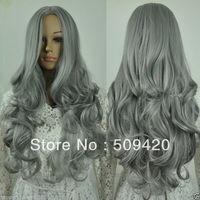 Free Shipping>>>fashion smoke grey long big curly wavy women's cosplay synthetic hot wig