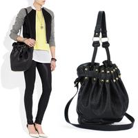 Alexander wholesale Europe and America rivets bucket bag black handbag bag shoulder bag punk rivets fashion free shipping