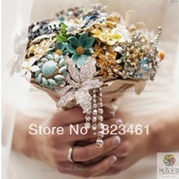 EMS Free shipping Custom Handmade Luxury Color Tassels Holding Flower  Brooch Bridal Bouquet Wedding Pearl bouquet