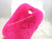 2Pcs/lot,High Quality Fluffy Rabbit Cony Hair Fur Case For Samsung Galaxy S4 i9500 Rhinestone Bowknot Winter Warm Fluffy Case