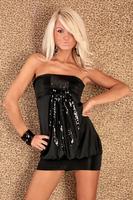 Free Shipping 107 Women's Sequined Black Cute Shot Dress Sexy Club Wear Wholesale