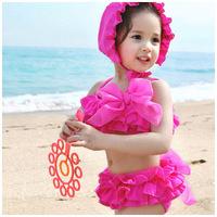 Free Shipping Children Girls Kids bathing suits 3-7 Years Bikini Swimwear 2014 New pleated skirt  bowknot+cap 3piece swimsuit