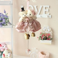 Lovers bear wind chimes door trim hangings heart crystal pendant birthday gift wedding props
