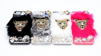 NEW Fashion Winter Luxury Panthers head design Rex Rabbit Hair Fur for iPhone5 Cover Diamond Crystal Bling Case For iPhone 4 4S