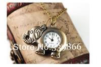 Wholesale fashion unique retro antique bronze elephant pocket watch quartz watch necklace the LK002 free delivery