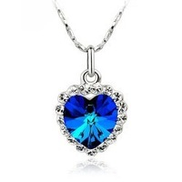 Hot sale Colorful heart crystal necklace pendant Fashion Crystal jewelry for women gift Free shipping