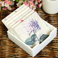 Flowers Pattern Heat Insulation Pads. Europe Rural Style Wooden Cup Mats. Coloured Drawing Placemat. Six-piece ID A0108743