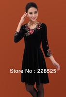 Promotion 2014 Autumn Winter Brand women's sleeve dress Embroidery Pleuche Temperament long design Plus Size M-L-XL-XXL-XXXL-4XL
