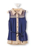 blouse women  short-sleeve turn-down collar sleeveless blouse chiffon loose plus size  women clothing