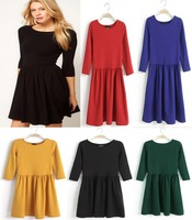 2014 new Retail half sleeve solid women dress popular fashion o-neck lady dresses 5 colors S M L XL