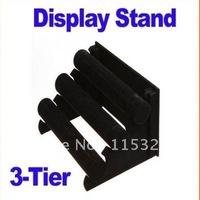 Free Shipping,1pcs Black 3 Rows Velvet Bracelet/Bangle watch/Jewelry Display Stand Rack