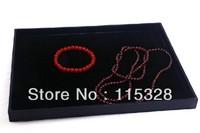 Free Shipping, Wholesale 2pcs/lot 24.5x19x1.6cm Black Velvet Jewelry Display Tray Showcase Case Box Holder Tray Stand Box