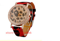 Couple a gift!The fashion Gogoey watch Leopard leather fashion watches crystal table! Free Shipping
