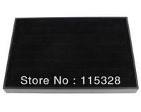Free Shipping,Wholesale 1pcs 35x24x3cm 8 Rows Black Jewelry Rings Earrings Display Show Case Organizer Storage Tray Box