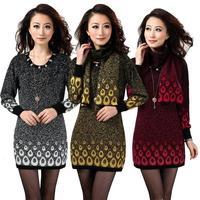 pullovers 2013 HENG YUAN XIANG women's medium-long sweater autumn and winter one-piece dress