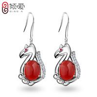 925 pure silver earrings female horse earrings transhipped silver red agate drop earring