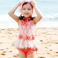 2014NEW ARRIVAL!Children girl's hot spring bathing suit +swimming cap 3pcs swimwear, Lovely grace princess fission swimsuit
