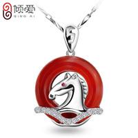 S925 pure silver necklace le formal red agate pendant transhipped female zodiac pendant