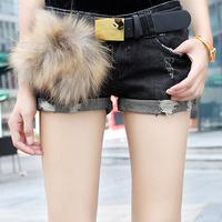 free shipping Boot cut jeans elastic denim shorts female wool hem roll-up distrressed jeans shorts water wash