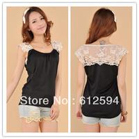 2014 new women/OL lace cotton patchwork slim basic shirt female spring summer t-shirt/vest halter tops tunics black elegant hot