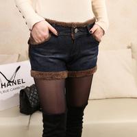 2014 spring shorts women casual thickening plus velvet denim plus size boots pants