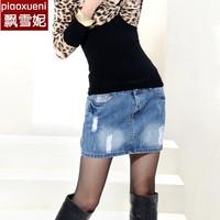 free shipping Women's denim skirt women's bust skirt plus size slim hip denim short skirt
