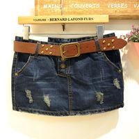 2014 new arrive women's hole denim short skirts autumn skirt bust skirt slim hip skirt hot sale