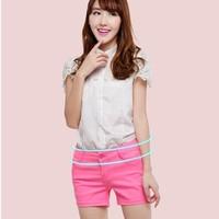 free shipping 2014 summer women candy color neon casual denim shorts women shorts