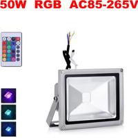 Fedex Free ! 8pcs/lot led 50W RGB AC85-265V flood light IP65 outdoor Street Advertising Landscape lamp