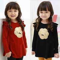 2014 Limited Real Freeshipping O-neck Spring And Autumn Flower Girls Clothing Baby Child Long-sleeve T-shirt Tx-2308 Basic Shirt