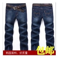 399 spring and autumn men's male straight jeans slim jeans male