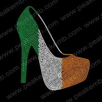 30Pcs/Lot Free Shipping New Design Fashion High Heel Rhinestone Motif Irish Iron On Appliques For St. Patrick'S Day