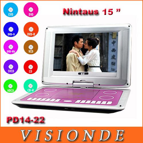 "Brand Nintaus 270 Degree Rotating+HD LED Screen 15"" +Super Slim+TV+Game+Built-in Battery Car Portable DVD/EVD Player PD14-22(China (Mainland))"
