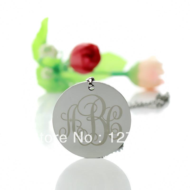 Freeshipping-Personalized Monogrammed Necklace Titanium Steel Initials Monogram Necklace Nameplate Pendant Custom Name Jewelry(China (Mainland))