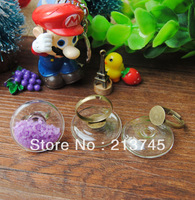 Free ship! 20sets/lot flat round Glass Bubble & Glass globe Ring set ( 34mm,30mm,25mm,20mm to select)  glass vial pendant