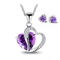 Fashion Necklace Earring Set,Genuine 925 Sterling Silver & Austria Crystal,3 Layer Platinum Plated,Free Shipping OS01