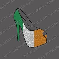30Pcs/Lot Free Shipping Custom Design High Heel Iron On Rhinestones For St. Patrick'S Day Strass Motif Rhinestone Templetes
