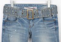 1532 spring and autumn female pencil pants hole skinny pants ultra elastic denim trousers