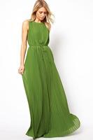 New 2014 summer Fashion elegant Women's Long Maxi Dress Bohemian Dress Pleated Dark Green Casual beach dress SK-191