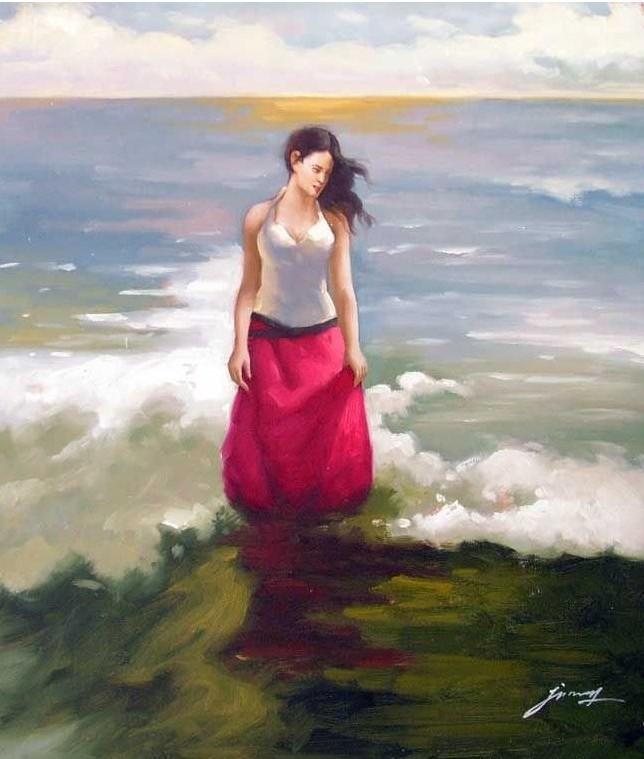 Mulher oceano vermelho pintura a óleo(China (Mainland))