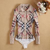 New arrvial british style ladies Brand Fashion OL Vintage Plaid shirt women office shirt slim  blusas femininas WSH-120