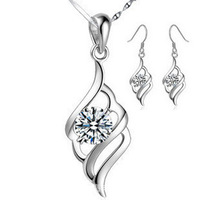 Luxury Bridal Jewelry Sets,Genuine 925 Silver with Austria Crystal Material,3 Layer Platinum Plated OS04