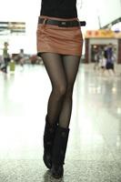 2289 women's autumn and winter sexy fashion all-match PU culottes short skirt